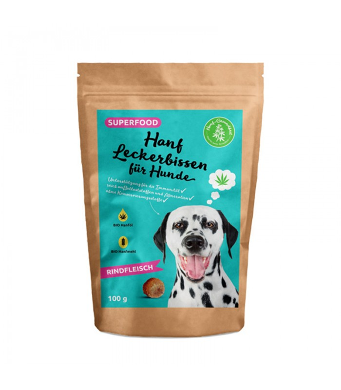 Beef flavor - hemp treat for dogs 100g