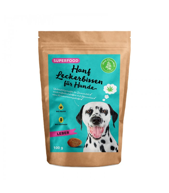 Liver flavor - hemp treat for dogs 100g